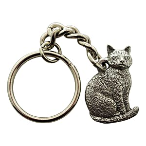 Sitting Cat Keychain ~ Antiqued Pewter ~ Keychain ~ Antiqued Pewter Keychain ~ Sarah's Treats & Treasures