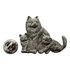 Cat with Kittens Pin ~ Antiqued Pewter ~ Lapel Pin ~ Antiqued Pewter Lapel Pin ~ Sarah's Treats & Treasures