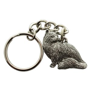 Sitting Longhaired Cat Keychain ~ Antiqued Pewter ~ Keychain ~ Antiqued Pewter Keychain ~ Sarah's Treats & Treasures