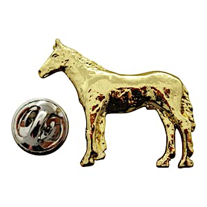 Horse Standing Pin ~ 24K Gold ~ Lapel Pin ~ 24K Gold Lapel Pin ~ Sarah's Treats & Treasures