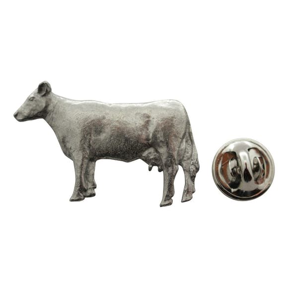 Cow Pin ~ Antiqued Pewter ~ Lapel Pin ~ Sarah's Treats & Treasures