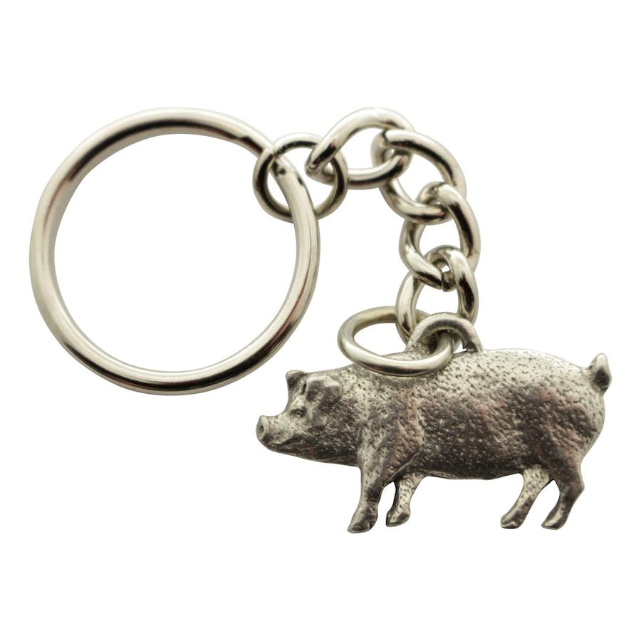 Pig Keychain ~ Antiqued Pewter ~ Keychain ~ Antiqued Pewter Keychain ~ Sarah's Treats & Treasures