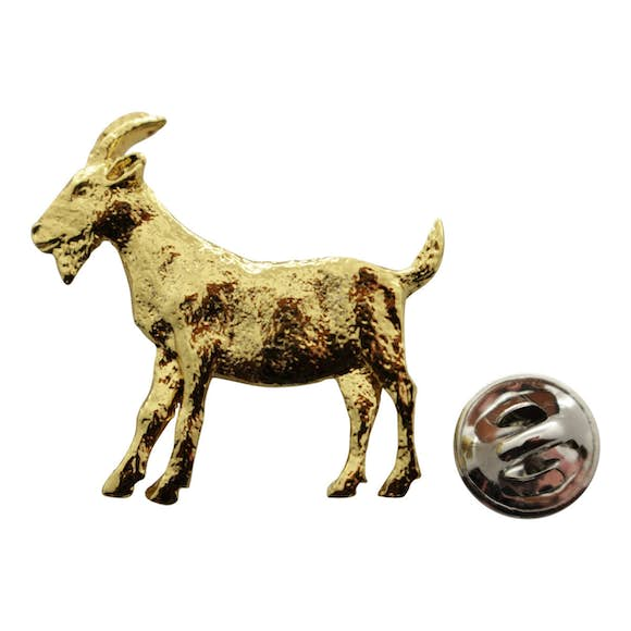 Goat Pin ~ 24K Gold ~ Lapel Pin ~ 24K Gold Lapel Pin ~ Sarah's Treats & Treasures