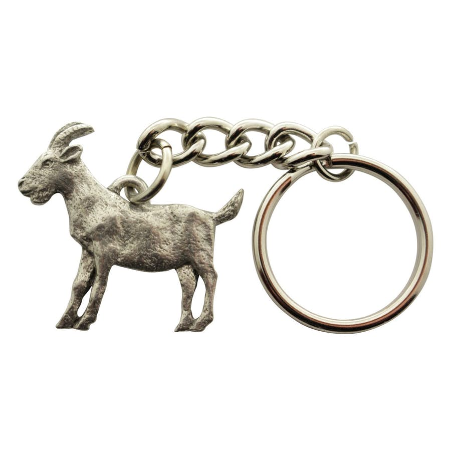 Goat Keychain ~ Antiqued Pewter ~ Keychain ~ Antiqued Pewter Keychain ~ Sarah's Treats & Treasures