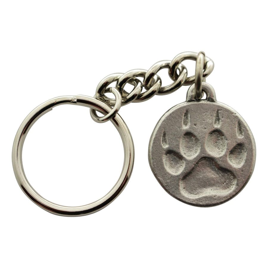 Paw Print Keychain ~ Antiqued Pewter ~ Keychain ~ Antiqued Pewter Keychain ~ Sarah's Treats & Treasures