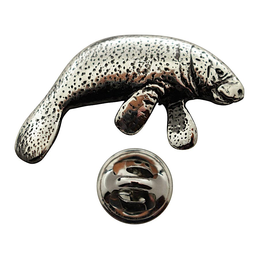 Manatee Pin ~ Antiqued Pewter ~ Lapel Pin ~ Sarah's Treats & Treasures