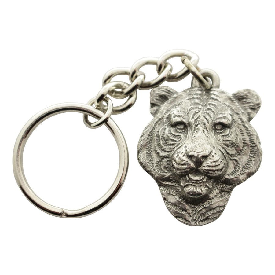 Tiger Head Keychain ~ Antiqued Pewter ~ Keychain ~ Antiqued Pewter Keychain ~ Sarah's Treats & Treasures