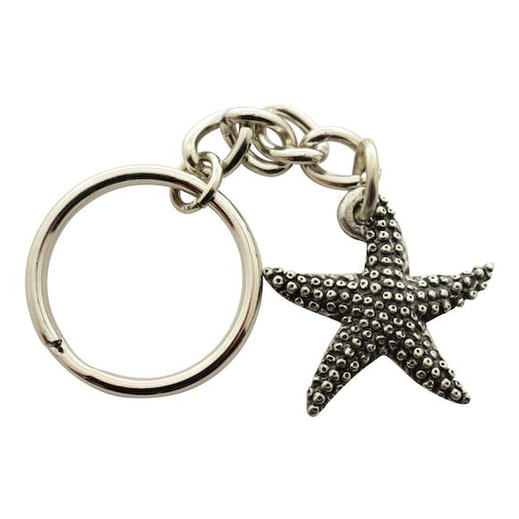 Starfish Keychain ~ Antiqued Pewter ~ Keychain ~ Antiqued Pewter Keychain ~ Sarah's Treats & Treasures