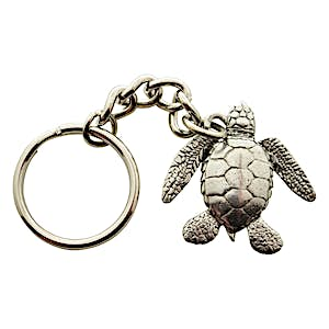 Sea Turtle Keychain ~ Antiqued Pewter ~ Keychain ~ Antiqued Pewter Keychain ~ Sarah's Treats & Treasures