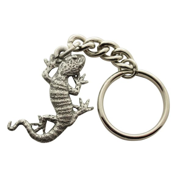 Gecko Keychain ~ Antiqued Pewter ~ Keychain ~ Antiqued Pewter Keychain ~ Sarah's Treats & Treasures