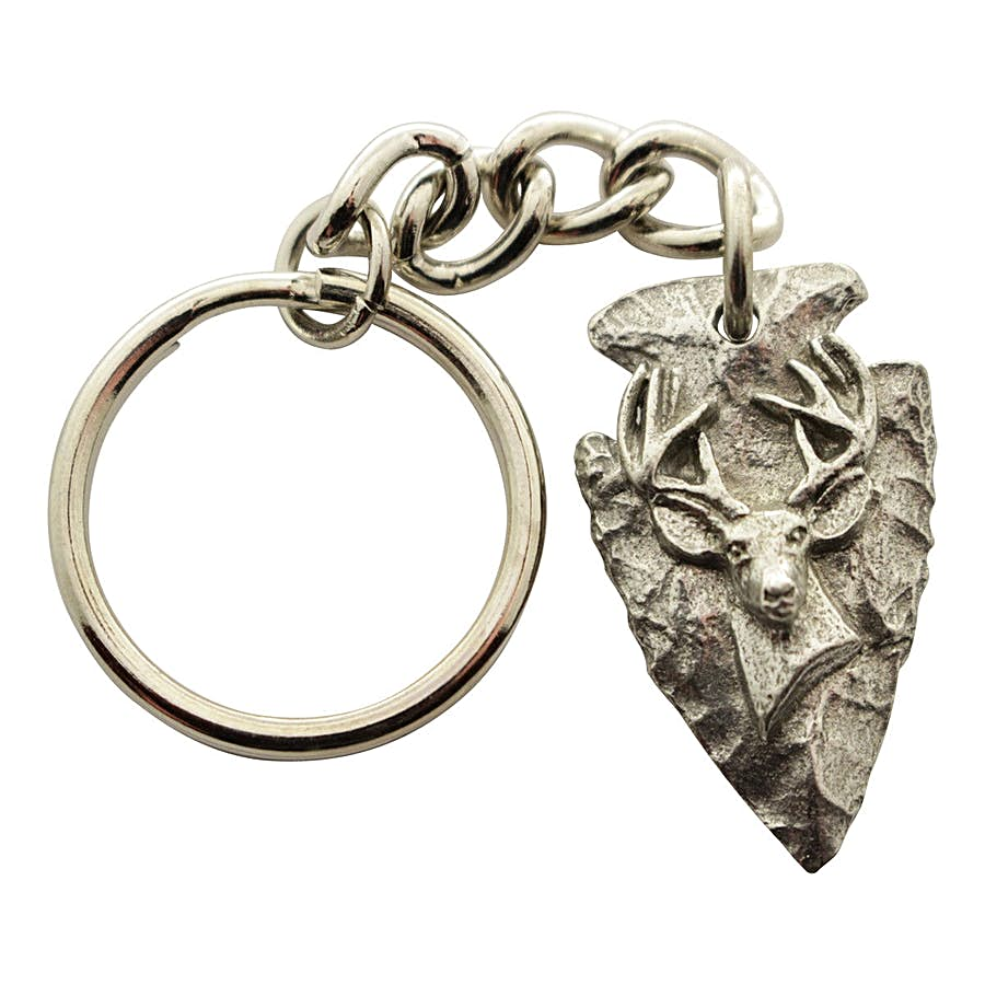 Arrowhead with Buck Head Keychain ~ Antiqued Pewter ~ Keychain ~ Sarah's Treats & Treasures