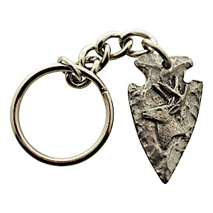 Arrowhead and Side Facing Buck Head Keychain ~ Antiqued Pewter ~ Keychain ~ Sarah's Treats & Treasures