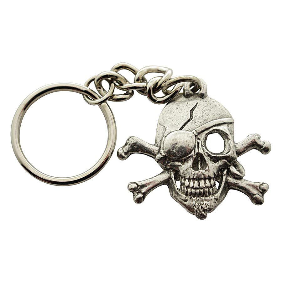 Skull and Crossbones Pirate Keychain ~ Antiqued Pewter ~ Keychain ~ Antiqued Pewter Keychain ~ Sarah's Treats & Treasures