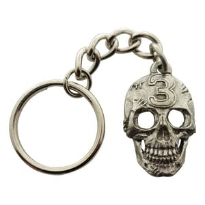 Lucky Number 3 Skull Keychain ~ Antiqued Pewter ~ Keychain ~ Antiqued Pewter Keychain ~ Sarah's Treats & Treasures