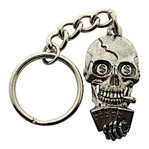 Poker Playing Skull Keychain ~ Antiqued Pewter ~ Keychain ~ Antiqued Pewter Keychain ~ Sarah's Treats & Treasures