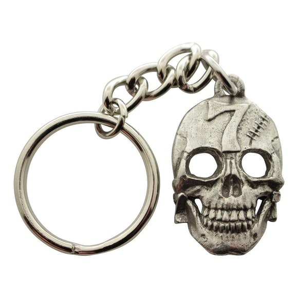 Lucky Number 7 Skull Keychain ~ Antiqued Pewter ~ Keychain ~ Antiqued Pewter Keychain ~ Sarah's Treats & Treasures