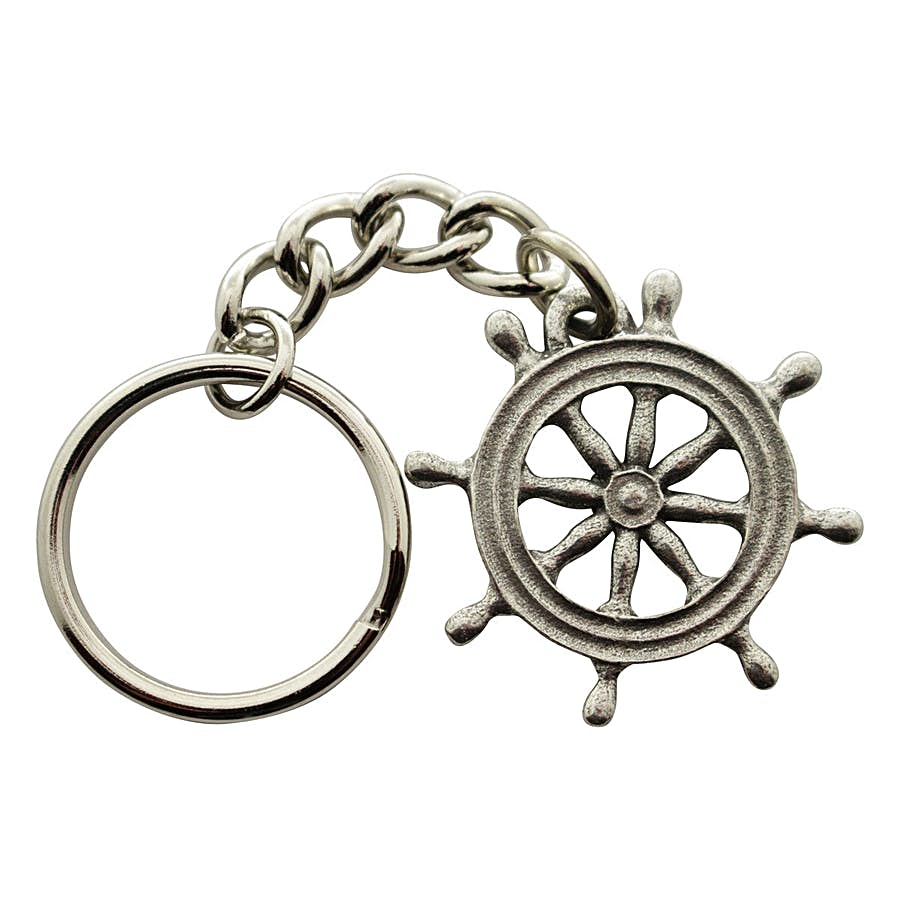 Ships Wheel Keychain ~ Antiqued Pewter ~ Keychain ~ Antiqued Pewter Keychain ~ Sarah's Treats & Treasures