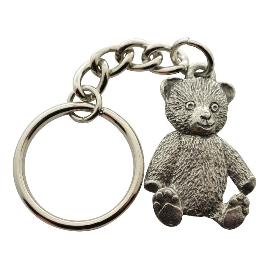 Teddy Bear Keychain ~ Antiqued Pewter ~ Keychain ~ Antiqued Pewter Keychain ~ Sarah's Treats & Treasures
