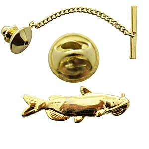 Catfish Tie Tack ~ 24K Gold ~ Tie Tack or Pin ~ 24K Gold Tie Tack or Pin ~ Sarah's Treats & Treasures