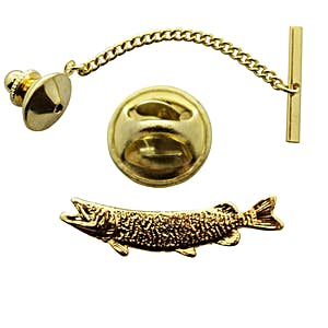 Muskellunge Tie Tack ~ 24K Gold ~ Tie Tack or Pin ~ 24K Gold Tie Tack or Pin ~ Sarah's Treats & Treasures