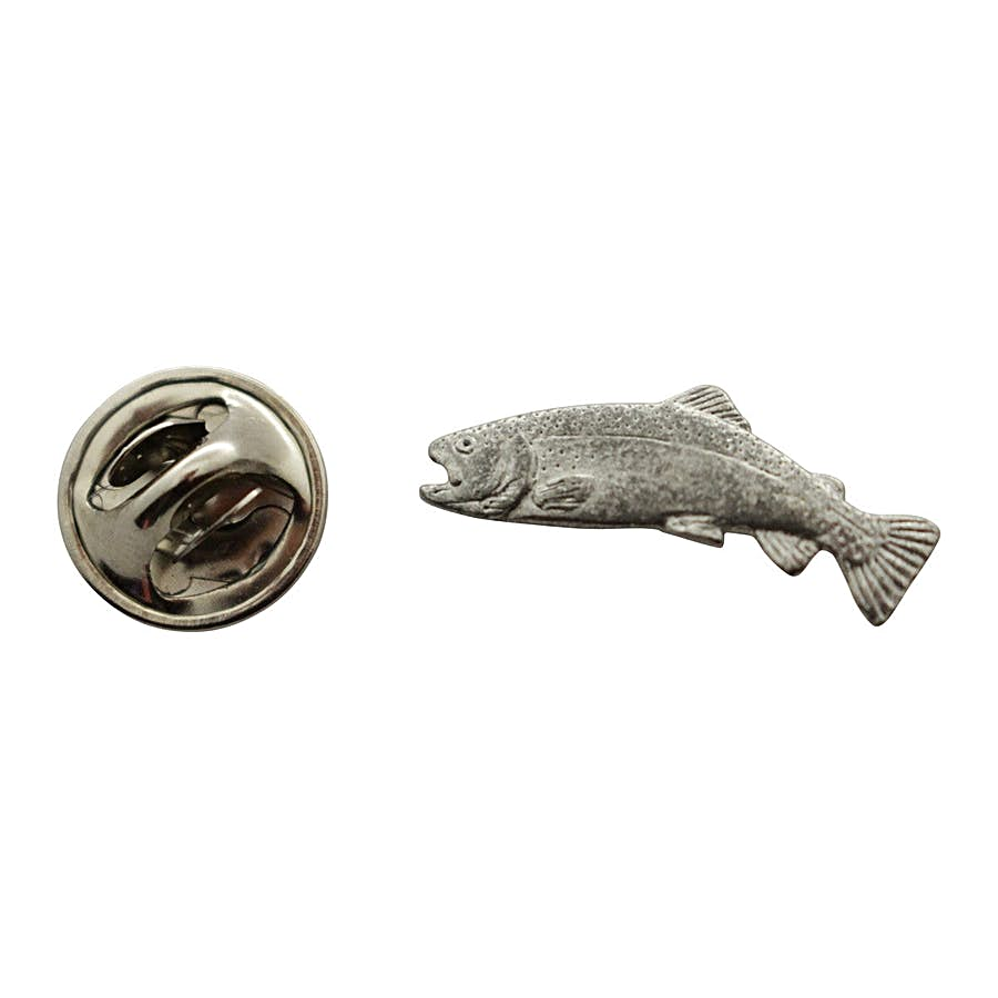 Rainbow Trout Mini Pin ~ Antiqued Pewter ~ Miniature Lapel Pin ~ Sarah's Treats & Treasures