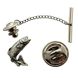 Jumping Trout Tie Tack ~ Antiqued Pewter ~ Tie Tack or Pin ~ Antiqued Pewter Tie Tack or Pin ~ Sarah's Treats & Treasures