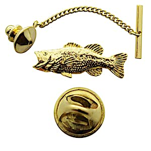 Largemouth Bass Tie Tack ~ 24K Gold ~ Tie Tack or Pin ~ Sarah's Treats & Treasures