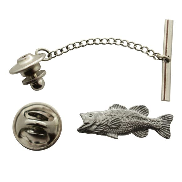 Largemouth Bass Tie Tack ~ Antiqued Pewter ~ Tie Tack or Pin ~ Antiqued Pewter Tie Tack or Pin ~ Sarah's Treats & Treasures