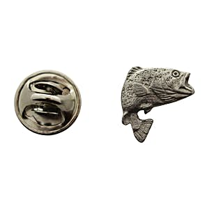 Jumping Largemouth Bass Mini Pin ~ Antiqued Pewter ~ Miniature Lapel Pin ~ Sarah's Treats & Treasures