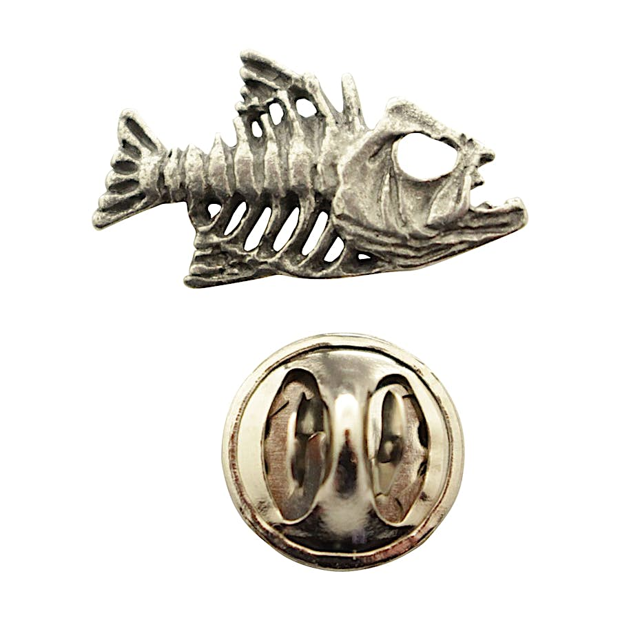 Bony Fish Mini Pin ~ Antiqued Pewter ~ Miniature Lapel Pin ~ Sarah's Treats & Treasures