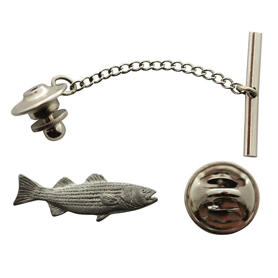 Striped Bass Tie Tack ~ Antiqued Pewter ~ Tie Tack or Pin ~ Sarah's Treats & Treasures