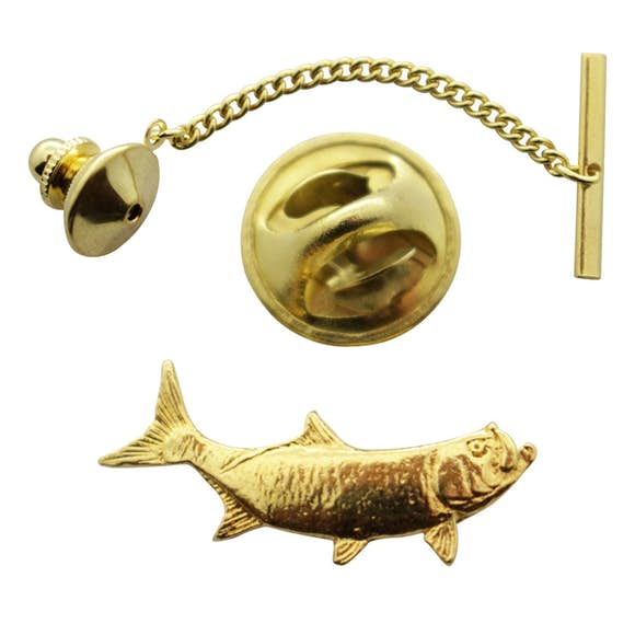 Tarpon Tie Tack ~ 24K Gold ~ Tie Tack or Pin ~ 24K Gold Tie Tack or Pin ~ Sarah's Treats & Treasures