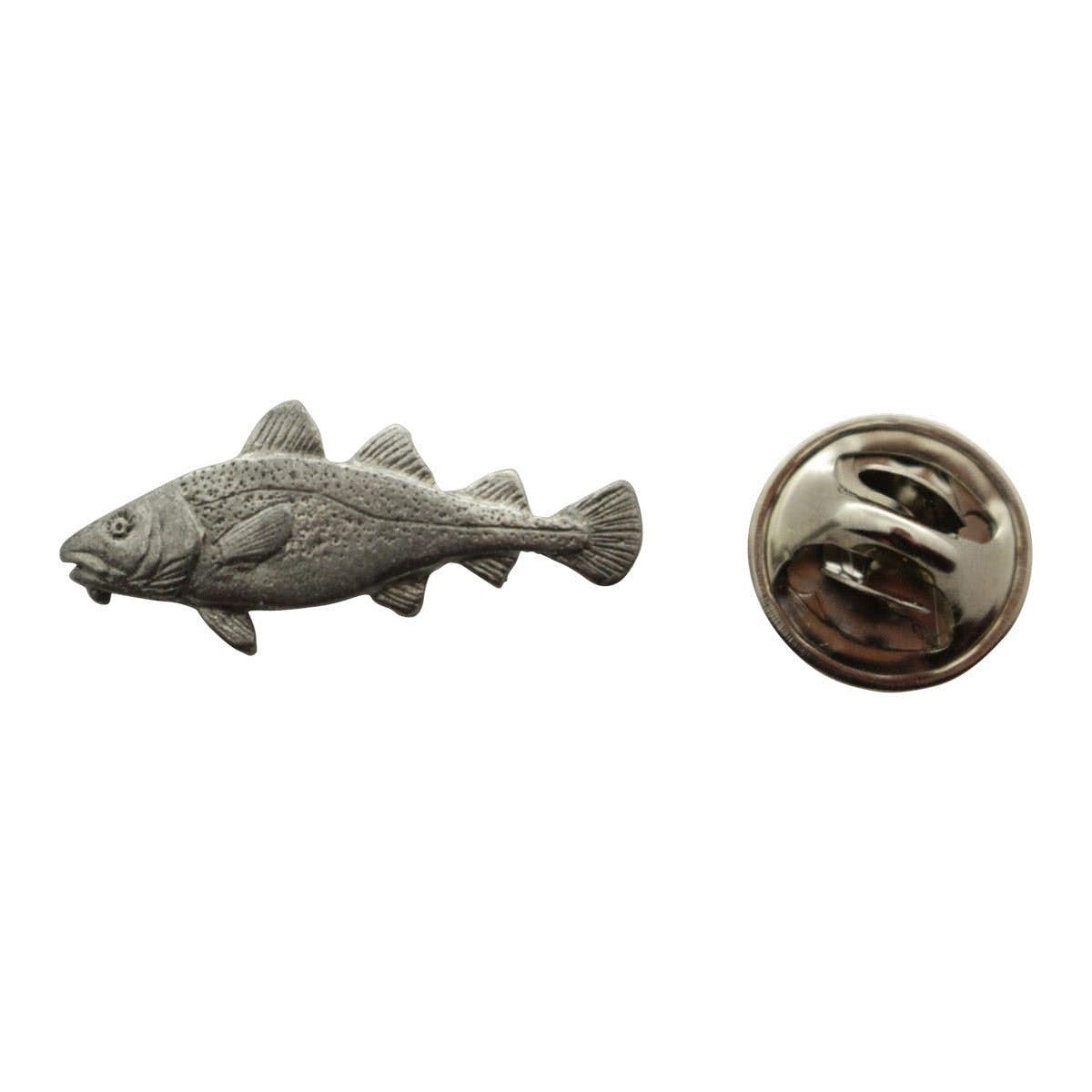 Cod Mini Pin ~ Antiqued Pewter ~ Miniature Lapel Pin ~ Antiqued Pewter  Miniature Lapel Pin