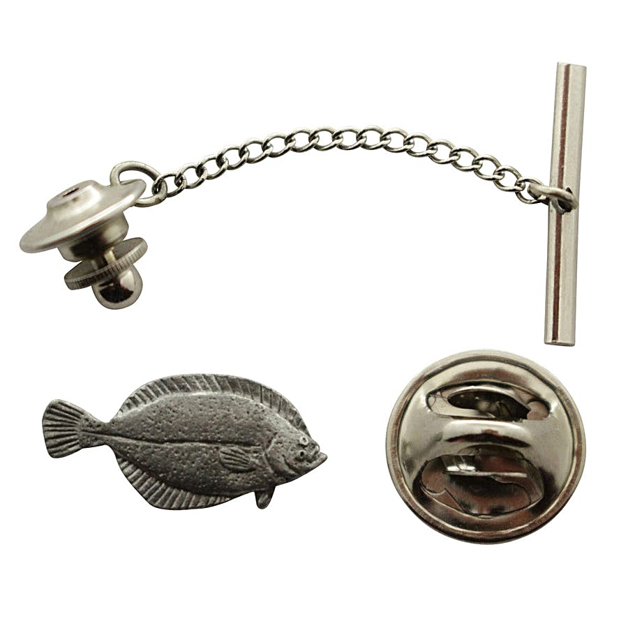 Flounder Tie Tack ~ Antiqued Pewter ~ Tie Tack or Pin ~ Antiqued Pewter Tie Tack or Pin ~ Sarah's Treats & Treasures