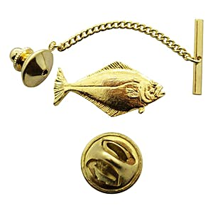 Halibut Tie Tack ~ 24K Gold ~ Tie Tack or Pin ~ Sarah's Treats & Treasures