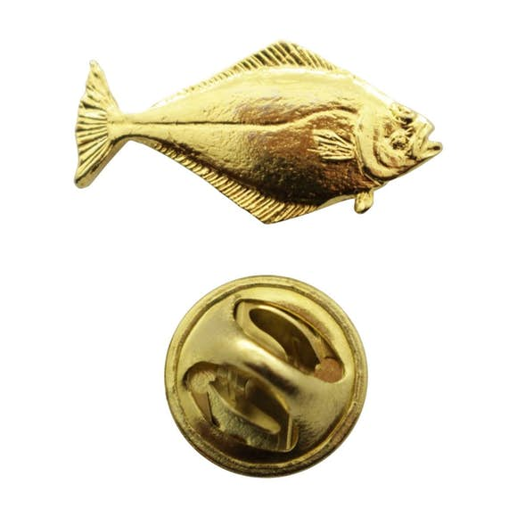 Halibut Mini Pin ~ 24K Gold ~ Miniature Lapel Pin ~ 24K Gold Miniature Lapel Pin ~ Sarah's Treats & Treasures