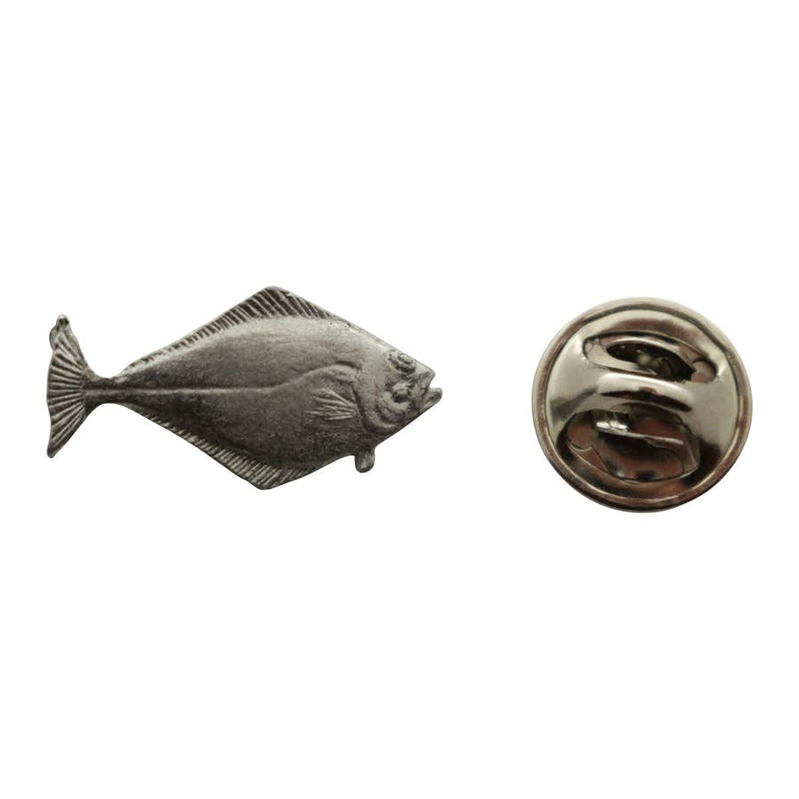 Halibut Mini Pin ~ Antiqued Pewter ~ Miniature Lapel Pin ~ Sarah's Treats & Treasures