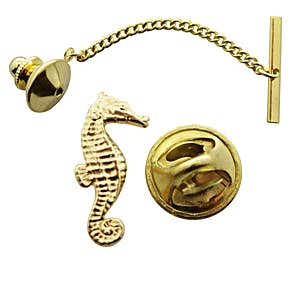 Seahorse Tie Tack ~ 24K Gold ~ Tie Tack or Pin ~ Sarah's Treats & Treasures