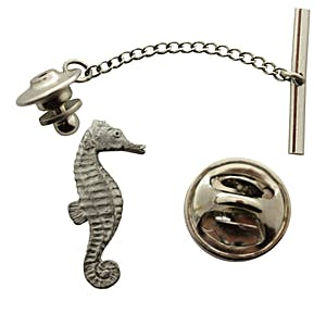 Seahorse Tie Tack ~ Antiqued Pewter ~ Tie Tack or Pin ~ Antiqued Pewter Tie Tack or Pin ~ Sarah's Treats & Treasures