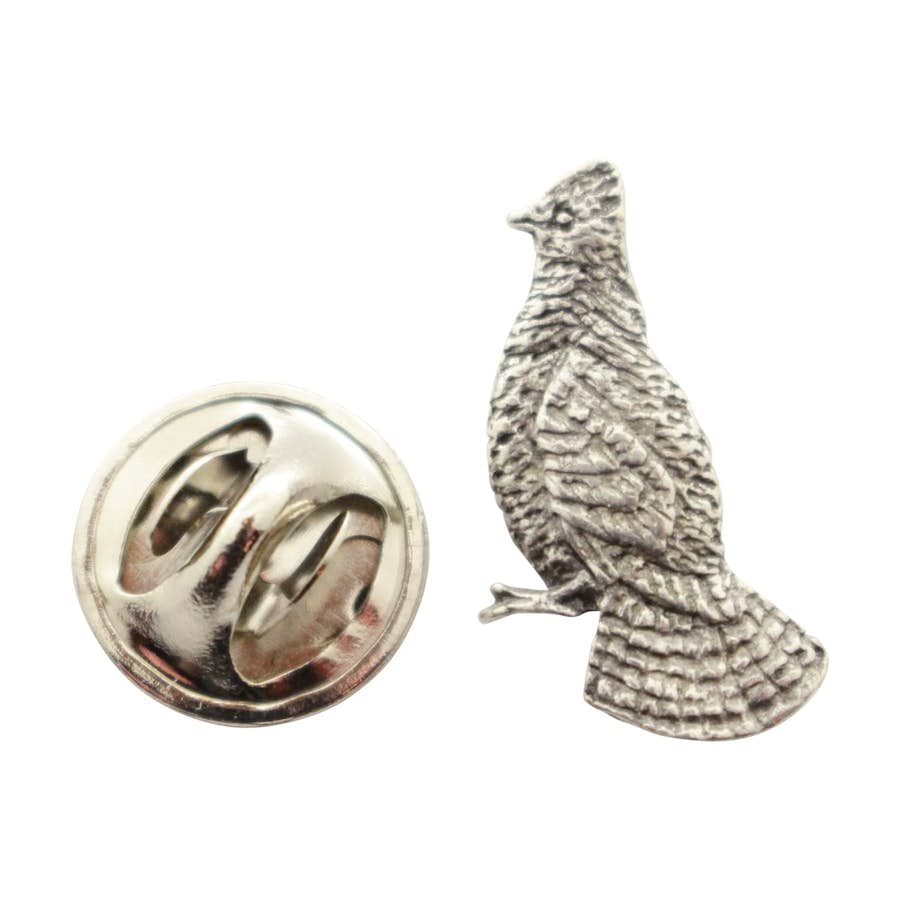 Ruffed Grouse Mini Pin ~ Antiqued Pewter ~ Miniature Lapel Pin ~ Sarah's Treats & Treasures