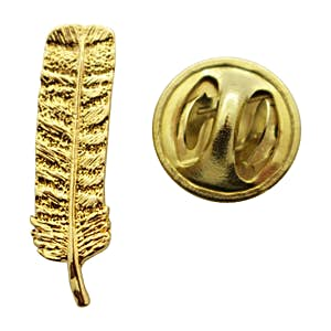 Feather Mini Pin ~ 24K Gold ~ Miniature Lapel Pin ~ Sarah's Treats & Treasures