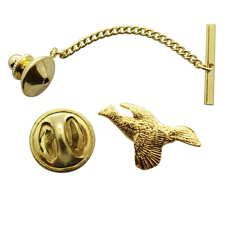 Ruffed Grouse Tie Tack ~ 24K Gold ~ Tie Tack or Pin ~ 24K Gold Tie Tack or Pin ~ Sarah's Treats & Treasures