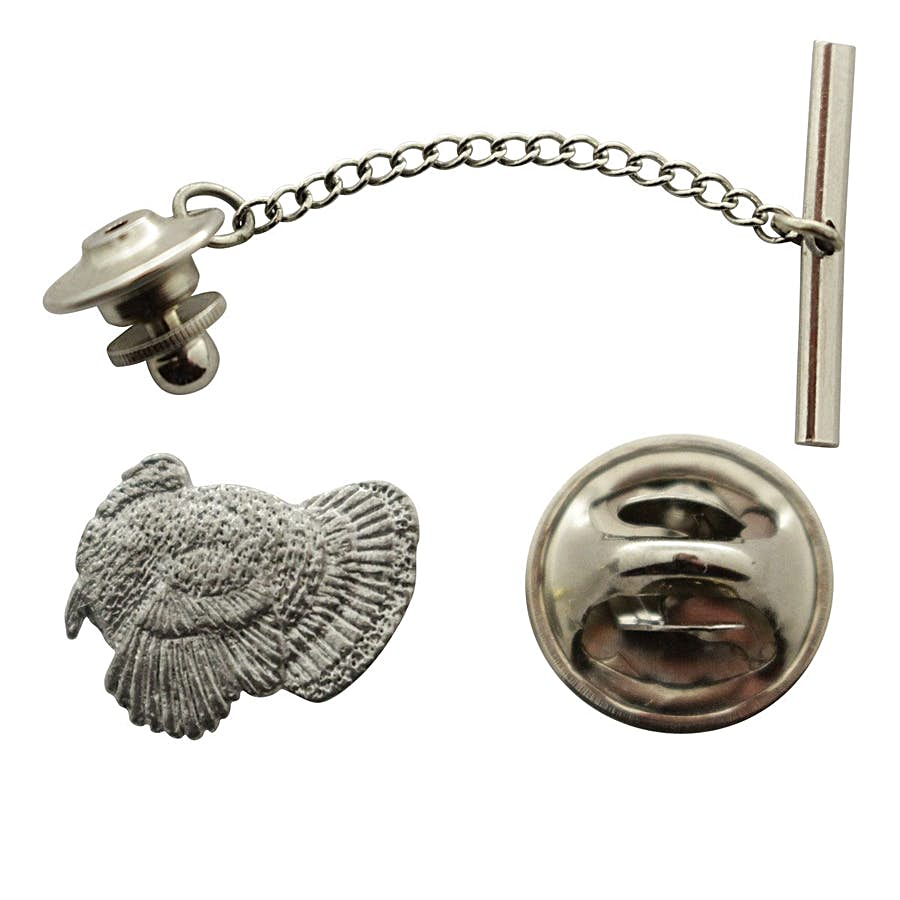Turkey Tie Tack ~ Antiqued Pewter ~ Tie Tack or Pin ~ Sarah's Treats & Treasures