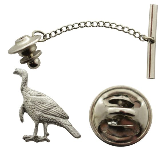 Alert Turkey Tie Tack ~ Antiqued Pewter ~ Tie Tack or Pin ~ Sarah's Treats & Treasures