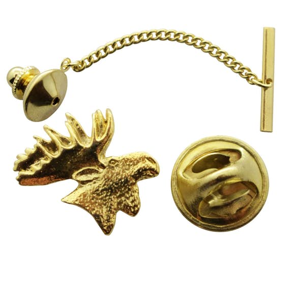 Moose Head Tie Tack ~ 24K Gold ~ Tie Tack or Pin ~ 24K Gold Tie Tack or Pin ~ Sarah's Treats & Treasures