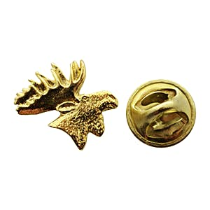 Moose Head Mini Pin ~ 24K Gold ~ Miniature Lapel Pin ~ 24K Gold Miniature Lapel Pin ~ Sarah's Treats & Treasures