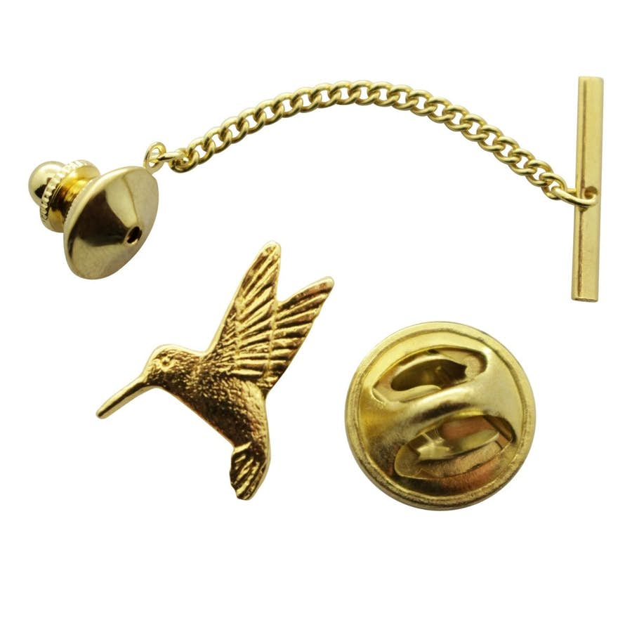 Hummingbird Tie Tack ~ 24K Gold ~ Tie Tack or Pin ~ Sarah's Treats & Treasures