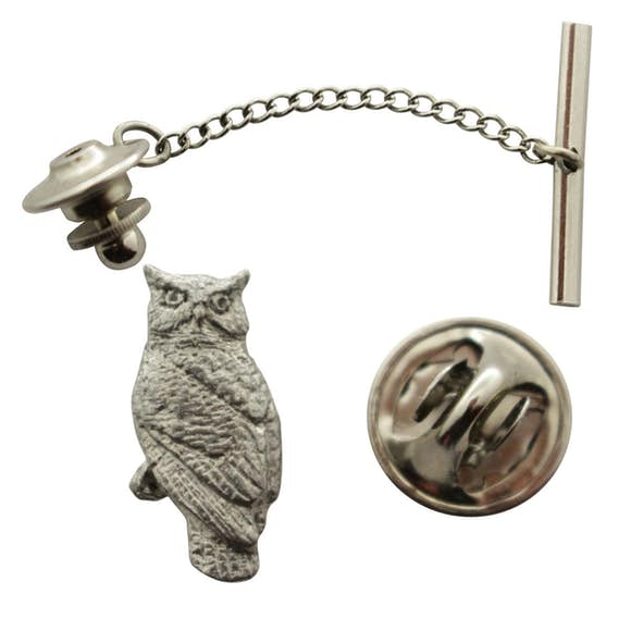 Owl Tie Tack ~ Antiqued Pewter ~ Tie Tack or Pin ~ Antiqued Pewter Tie Tack or Pin ~ Sarah's Treats & Treasures