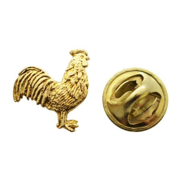Rooster Mini Pin ~ 24K Gold ~ Miniature Lapel Pin ~ Sarah's Treats & Treasures