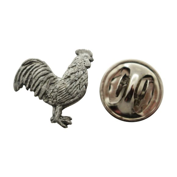 Rooster Mini Pin ~ Antiqued Pewter ~ Miniature Lapel Pin ~ Sarah's Treats & Treasures